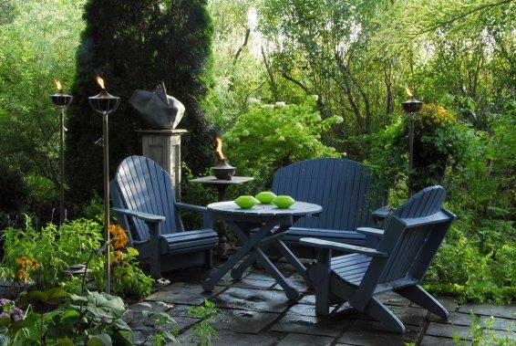 une terrasse le soir marie france l ger cour et jardin. Black Bedroom Furniture Sets. Home Design Ideas