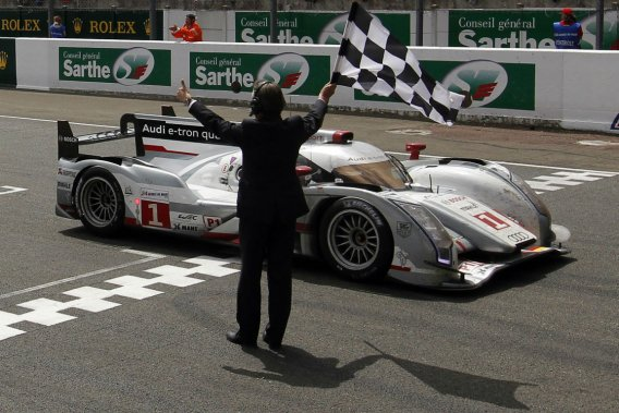 L'Audi R18 e-tron quattro, championne des derniers 24 Heures du Mans.