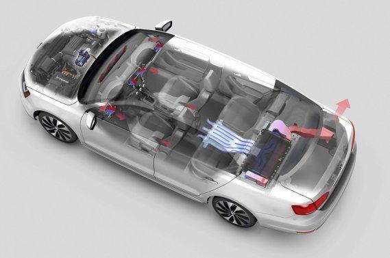 La version Hybrid de la Jetta se reconnaît à ses jantes spécifiques et à quelques appendices (déflecteur avant, aileron et diffuseur à l'arrière) qui contribuent à réduire la traînée aérodynamique de quelque 10%.