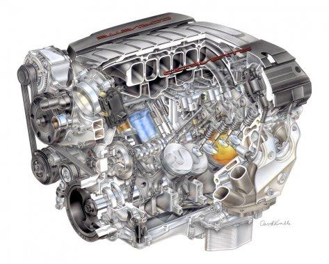 La septième génération de la Corvette sera lancée cette année avec un V8 entièrement redessiné. Il a la même configuration à tiges de poussoirs et le même volume de 6,2 litres que l'actuel moteur, mais le nouveau est plus puissant et plus économique, selon GM.