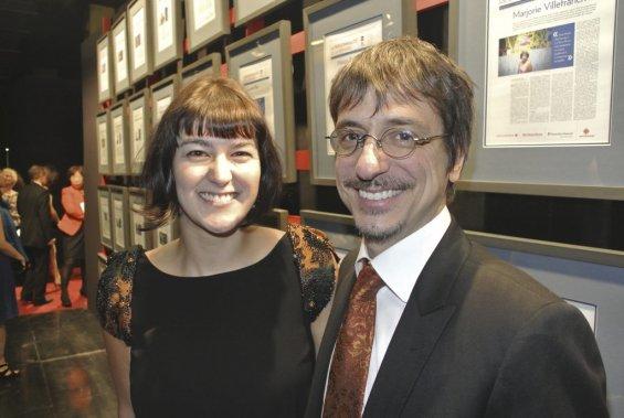 Lauréat du prix Personnalité de l'année Arts et spectacles, le réalisateur de Monsieur Lazhar Philippe Falardeau et sa conjointe Félize Frappier. (Photo: Herby Moreau, La Presse)