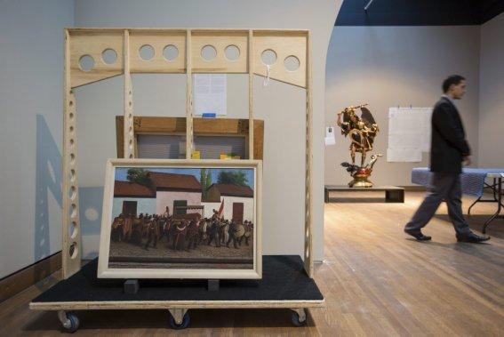 Une peinture à l'huile sur toile de Mario Urtega représentant l'enterrement d'un vétéran. La toile date 1936 et appartient à la collection du Musée d'art moderne de New York. (Photo: Édouard Plante-Fréchette, La Presse)