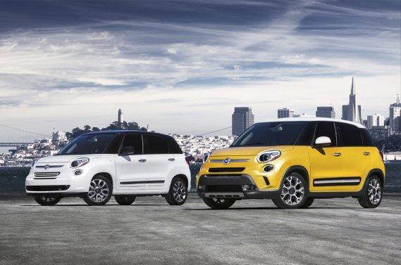 Fiat transforme sa citadine 500 en voiture familiale avec les Fiat 500L Lounge 2014 et Fiat 500L Trekking 2014.