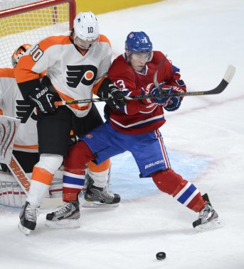 Brendan Gallagher et Braydon Schenn. (Photo Bernard Brault, La Presse)