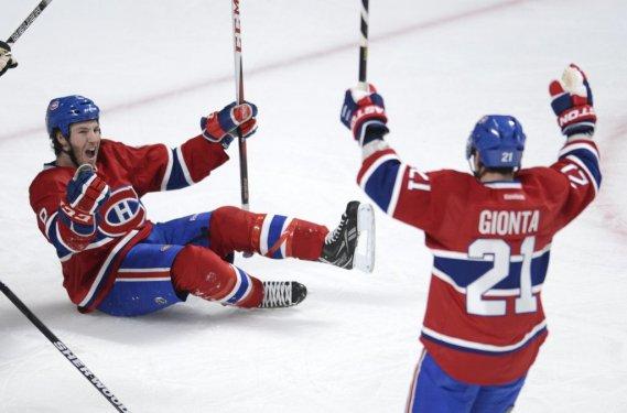 Brandon Prust (8) a marqué le premier but du Canadien. (PHOTO BERNARD BRAULT, LA PRESSE)