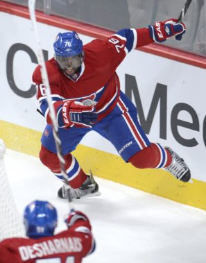 P.K. Subban (76) célèbre son but avec David Desharnais (51). (PHOTO BERNARD BRAULT, LA PRESSE)