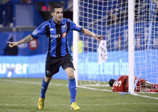 Andres Romero a inscrit le quatrième but du onze montréalais à la 61e minute. (Bernard Brault, La Presse)