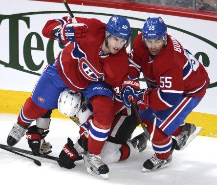 Les luttes furent âpres au Centre Bell pour ce premier match des séries du Canadien. (Photo Bernard Brault, La Presse)