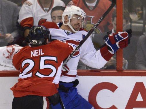 La rivalité entre le Canadien et les Sénateurs d'Ottawa s'est encore fait sentir au quatrième match de la série. (Photo Bernard Brault, La Presse)