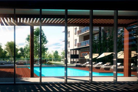 Dans la cour intérieure, il y aura une piscine ainsi qu'un pavillon où seront aménagés un centre d'entraînement au rez-de-chaussée et un salon à l'étage. (Illustration fournie par le Groupe Leclerc Architecture+Design.)