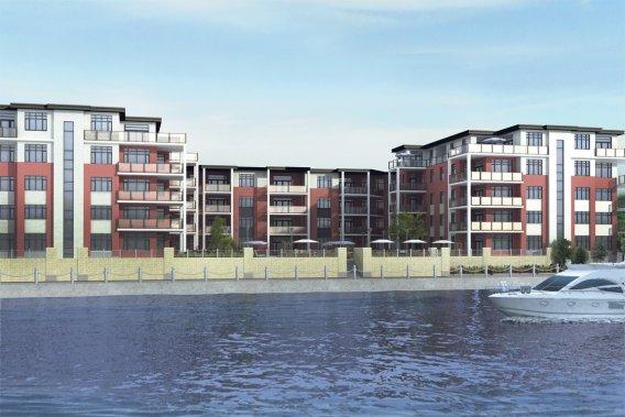 Le Havre du Richelieu, en construction aux abords de la rivière Richelieu, sera en forme de U et comportera une cour intérieure. (ILLUSTRATION FOURNIE PAR LE GROUPE LOBATO)