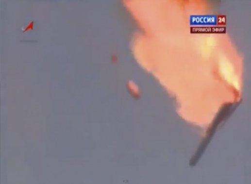 La fusée a explosé et est retombée à environ 2,5 km du lieu du lancement, provoquant un cratère de 150 à 200 mètres de diamètre, selon une source à Baïkonour citée par l'agence Interfax. (AP)