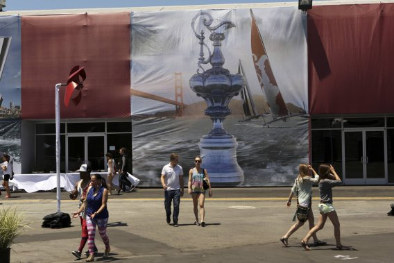 Le parc de la Coupe de l'America aménagé pour l'occasion (Photo Reuters)