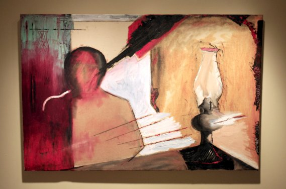 L'inspiration est une lampe à l'huile, huile et fusain sur toile (Le Soleil, Pascal Ratthé)