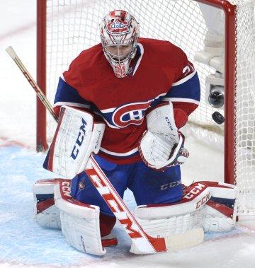 Le gardien du Canadien Carey Price se dresse devant un tir. (Photo Bernard Brault, La Presse)