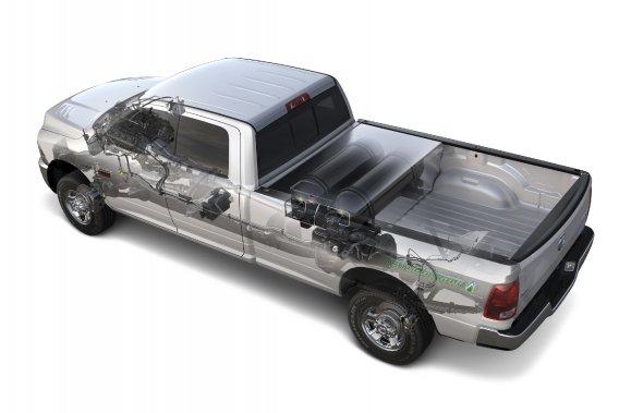 Ce Ram 2500 au gaz naturel profiterait bien de réservoirs moins encombrants.