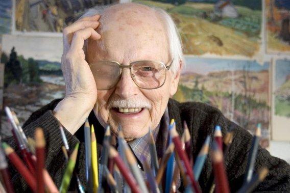 Frédéric Back est un maître du cinéma d'animation reconnu mondialement. Il pose ici, pour un photographe de La Presse, en 2007. Frédéric Back est né le 8 avril 1924 à St-Arnuald, en banlieue de la ville de Sarrebrück, en Allemagne. (Alain Roberge, Archives La Presse)