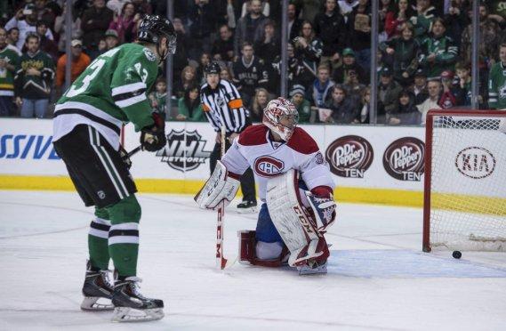 Valeri Nichushkin (43) de Stars perce le filet du Canadien lors de la deuxième période. (Photo Jerome Miron, AP)