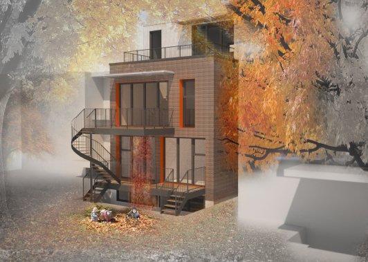 Deux logements, aménagés sur deux niveaux, occuperont le rez-de-chaussée et le sous-sol du triplex tri-HAUS, afin de partager équitablement la luminosité et le gain solaire passif. Le troisième logement, aménagé à l'étage, comptera une mezzanine, ouverte sur une terrasse sur le toit, à l'arrière. (ILLUSTRATION FOURNIE PAR ROSE ARCHITECTURE)