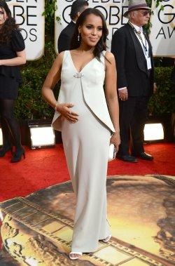 Kerry Washington, nominée dans la catégorie «Meilleure actrice télé, série dramatique» pour son rôle dans Scandal, porte Balenciaga. (Photo Jordan Strauss, AP)