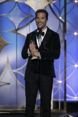 Matthew McConaughey a remporté le Golden Globe du meilleur acteur dans un film dramatique pour Dallas Buyers Club de Jean-Marc Vallée. (AP)