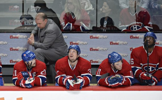 Michel Therrien, Brain Gionta, Travis Moen, Brendan Gallagher et PK Subban au cours de la 3e période. (Photo Bernard Brault, La Presse)