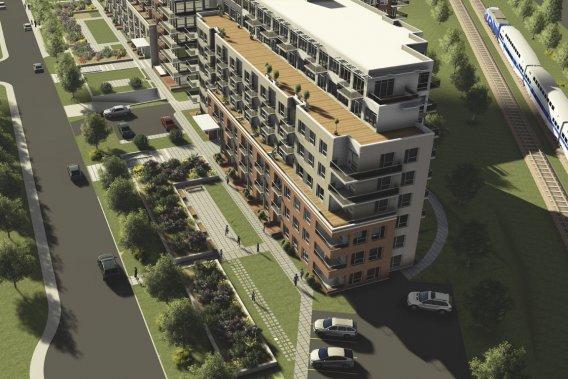 La construction du premier immeuble, qui compte 85 condos, est avancée. En recul de la rue, l'édifice sera entouré de verdure. (Illustration fournie par Habitations Trigone)