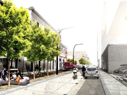 La rue Ottawa figure parmi les rues appelées à être métamorphosées afin de ne plus servir uniquement d'espace de transit. (Illustration fournie par l'arrondissement Sud-Ouest)