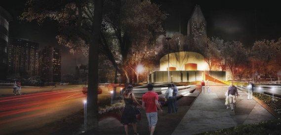 Au coeur du Quartier de l'innovation, le stationnement de l'ancien Planétarium Dow sera converti en un vaste parc. (Illustration fournie par L'ETS)