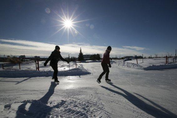 La patinoire de la Pointe-aux-Lièvres est un long sentier glacé de 1,5 km, en forme de boucle. (Photo Hugo-Sébastien Aubert, La Presse)