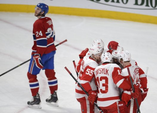 Les Red Wings ont ouvert la marque en fin de 1re période. (Bernard Brault, La Presse)