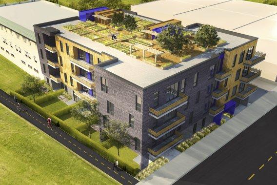 Le Vam Condominiums se distingue par ses potagers sur le toit. (Illustration fournie par Vivenda Développement Urbain)
