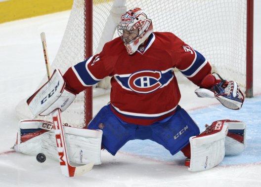 Carey Price bloque un tir lors de la deuxième période du match. (Photo Bernard Brault, La Presse)