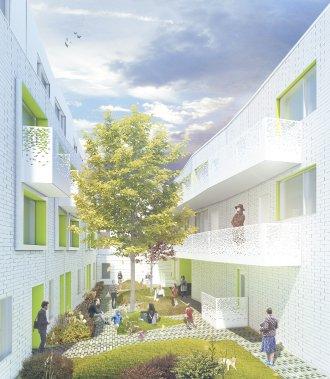 Les condos et les maisons en rangée seront situés de part et d'autre d'une cour intérieure réservée aux copropriétaires. (Illustration fournie par Kanva Architecture Management R&D)