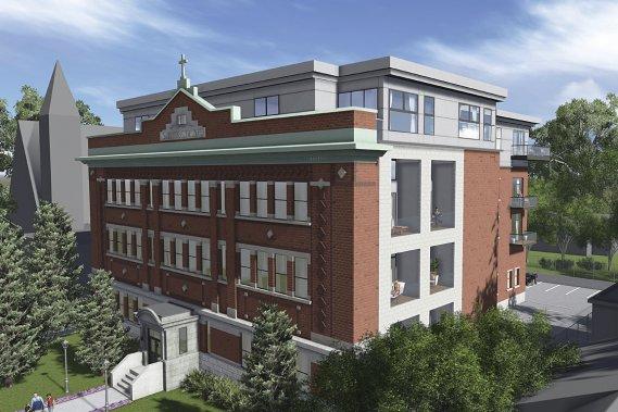 L'ancienne Académie Saint-Michel change de vocation. La façade de l'immeuble centenaire ne sera pas modifiée. Un quatrième étage sera ajouté ainsi qu'une nouvelle section à l'arrière. (Illustration fournie par la Maison Bond)