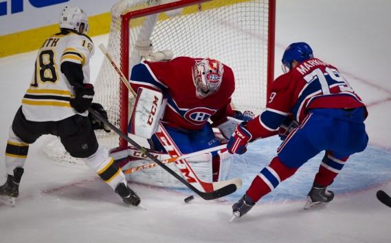 Carey Price et Andrei Markov veulent freiner l'assaut des Bruins. (Photo André Pichette, La Presse)
