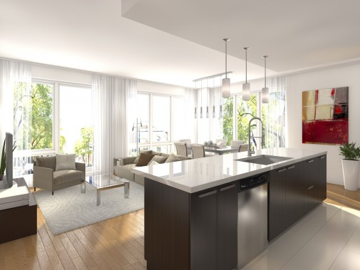 La cuisine est ouverte sur le séjour et la salle à manger. (Illustration fournie par les Constructions di Fiore)
