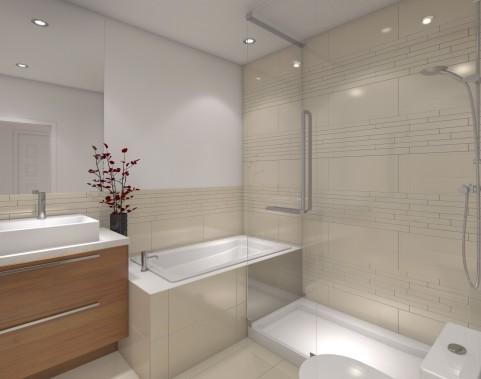 Les salles de bains comprennent baignoire et douche séparées. (Illustration fournie par les Constructions di Fiore)