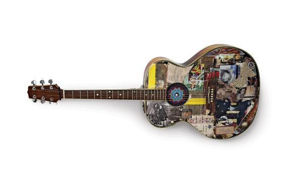 Quand Richard Séguin préparait un coffret pour ses 40 ans de métier, il y a deux ans, cette guitare Takamine - dont il s'est beaucoup servi à l'époque de Journée d'Amérique - se trouvait dans son atelier de gravure. «J'avais trouvé intéressant d'amalgamer dessus différentes périodes», dit-il. (Photo fournie par le musée McCord)