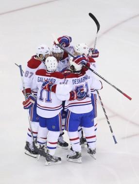 Le Canadien célèbre le but de Markov. (Photo USA TODAY Sports)