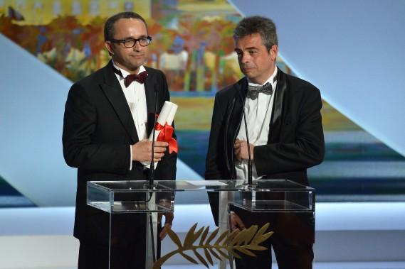 Le prix du scénario a été remis aux Russes Andreï Zviaguintsev, également réalisateur, et Oleg Negin pour Leviathan. (Photo AFP)