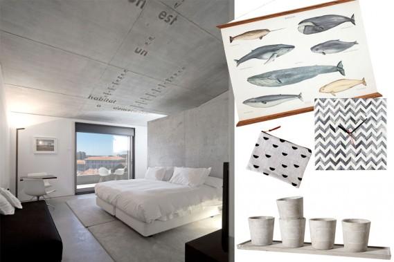 Une chambre de l'hôtel Casa do Conto à Porto. Dans cet établissement tout bétonné, les murs et le plafond gris apportent texture et calme à la chambre. (Photos fournies par les fabricants)