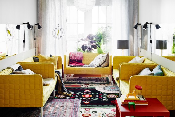 Comment obtenir une ambiance bohème chic? En superposant les tapis, comme dans cet aménagement du nouveau catalogue IKEA. (Photo fournie par IKEA)