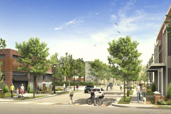 Voici à quoi pourrait ressembler l'intersection du boulevard Henri-Bourassa et de la future rue Wilfrid-Reid, dans Le Quartier. Celui-ci sera aménagé de façon à faciliter les déplacements à pied et en vélo. (ILLUSTRATION FOURNIE PAR L'ARRONDISSEMENT DE SAINT-LAURENT)