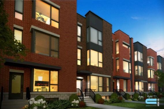 Les maisons en rangée du futur square Kenneth-Patrick, à l'architecture contemporaine, reflètent le virage qu'entreprend Montclair. (ILLUSTRATION FOURNIE PAR MONTCLAIR)