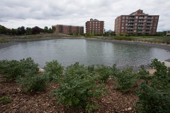 Un tout nouveau bassin de rétention d'eau, qui a l'air d'un lac, vient d'être aménagé dans Le Challenger Ouest, derrière Les Grands Palais sur le Lac. (Photo François Roy, La Presse)