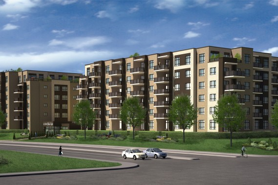 D'architecture contemporaine, le complexe Bella Vista comptera deux immeubles de six étages en bordure du boulevard Cavendish. La construction du premier édifice est avancée. (ILLUSTRATION FOURNIE PAR RODIMAX)