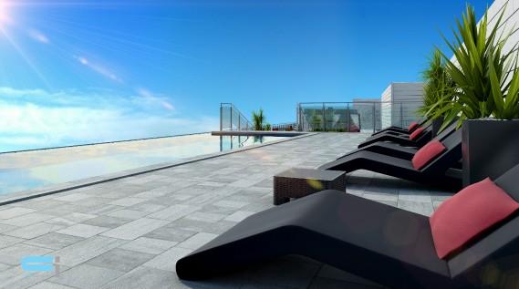 Comme dans les grands complexes urbains, les copropriétaires auront accès à une piscine à débordement et à une terrasse sur le toit. (ILLUSTRATION FOURNIE PAR LE GROUPE MAGMA)