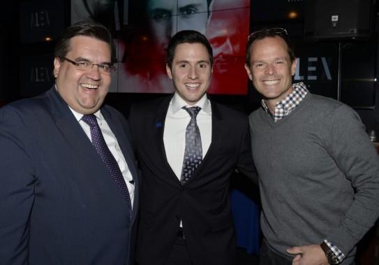 Le maire de Montréal Denis Coderre, Alexandre Bilodeau et Jean-Luc Brassard. (Photo Bernard Brault, La Presse)