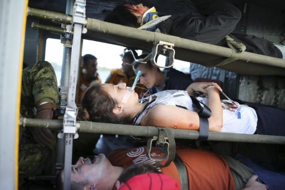40 victimes transportées par hélicoptère à l'hôpital Sacré-Coeur de Montréal. (Photo: Martin Chamberland, La Presse)